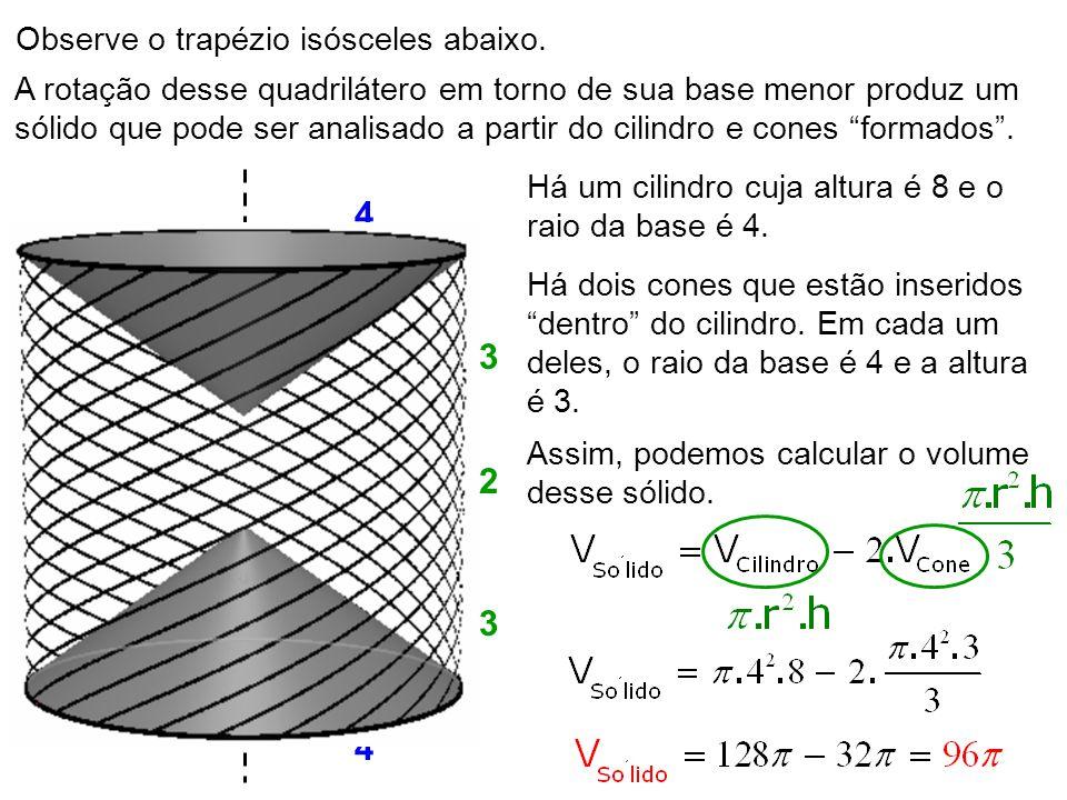 28 Observe o trapézio isósceles abaixo. A rotação desse quadrilátero em torno de sua base menor produz um sólido que pode ser analisado a partir do ci