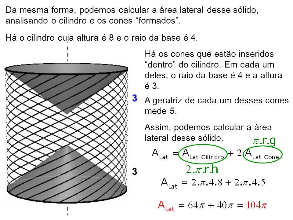 """3 3 28 4 5 Da mesma forma, podemos calcular a área lateral desse sólido, analisando o cilindro e os cones """"formados"""". Há o cilindro cuja altura é 8 e"""
