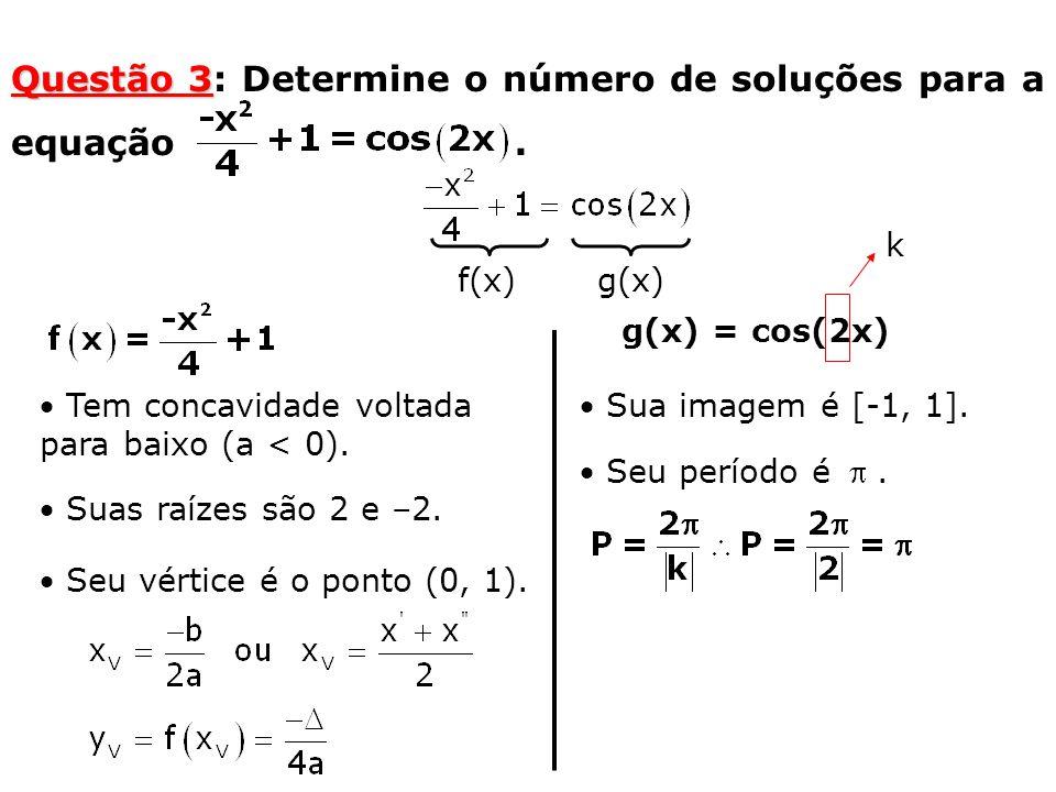 Questão 3 Questão 3: Determine o número de soluções para a equação.  Tem concavidade voltada para baixo (a < 0).  Suas raízes são 2 e –2.  Seu vért