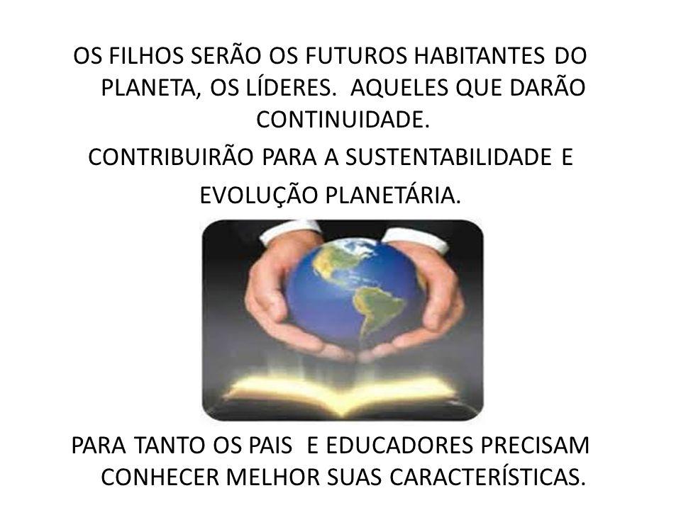 OS FILHOS SERÃO OS FUTUROS HABITANTES DO PLANETA, OS LÍDERES. AQUELES QUE DARÃO CONTINUIDADE. CONTRIBUIRÃO PARA A SUSTENTABILIDADE E EVOLUÇÃO PLANETÁR