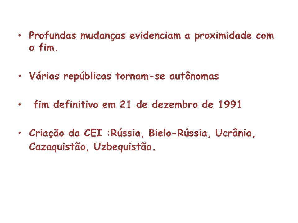 Profundas mudanças evidenciam a proximidade com o fim. Várias repúblicas tornam-se autônomas fim definitivo em 21 de dezembro de 1991 Criação da CEI :
