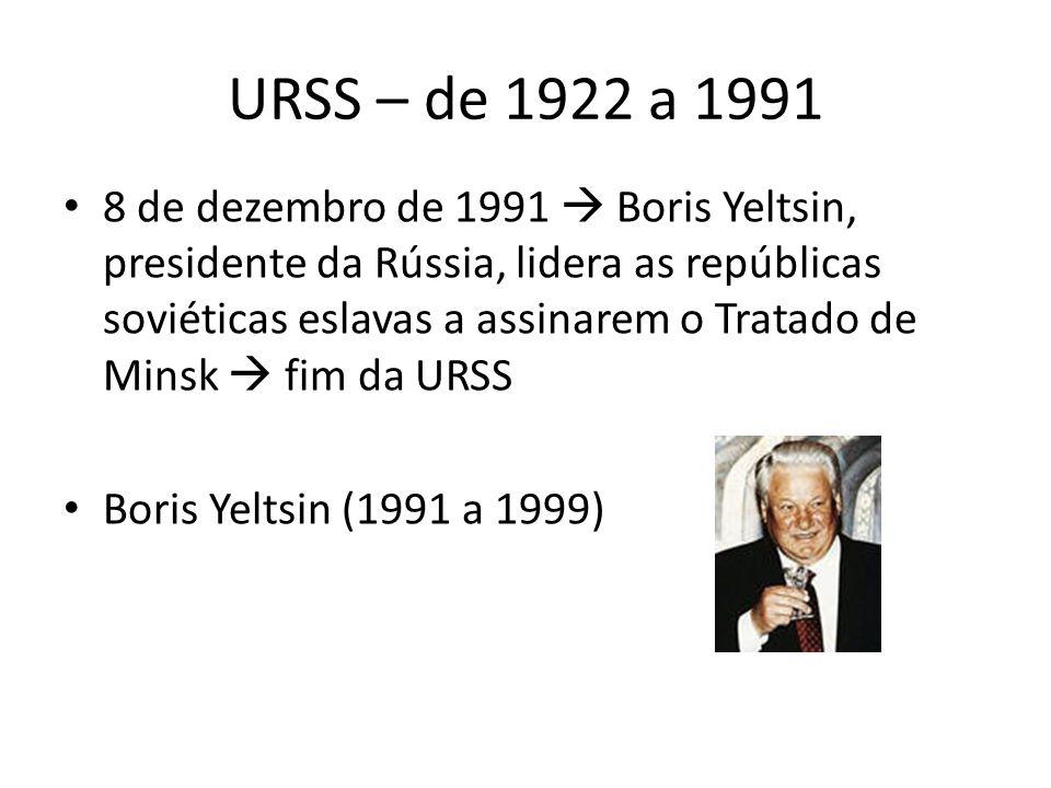 URSS – de 1922 a 1991 8 de dezembro de 1991  Boris Yeltsin, presidente da Rússia, lidera as repúblicas soviéticas eslavas a assinarem o Tratado de Minsk  fim da URSS Boris Yeltsin (1991 a 1999)