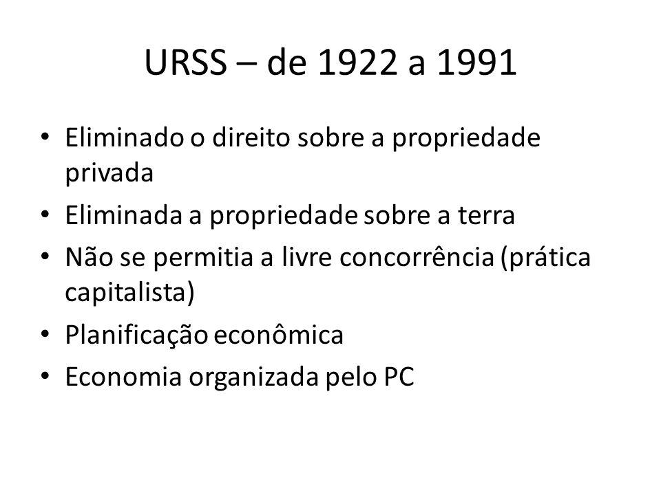 URSS – de 1922 a 1991 Eliminado o direito sobre a propriedade privada Eliminada a propriedade sobre a terra Não se permitia a livre concorrência (prática capitalista) Planificação econômica Economia organizada pelo PC