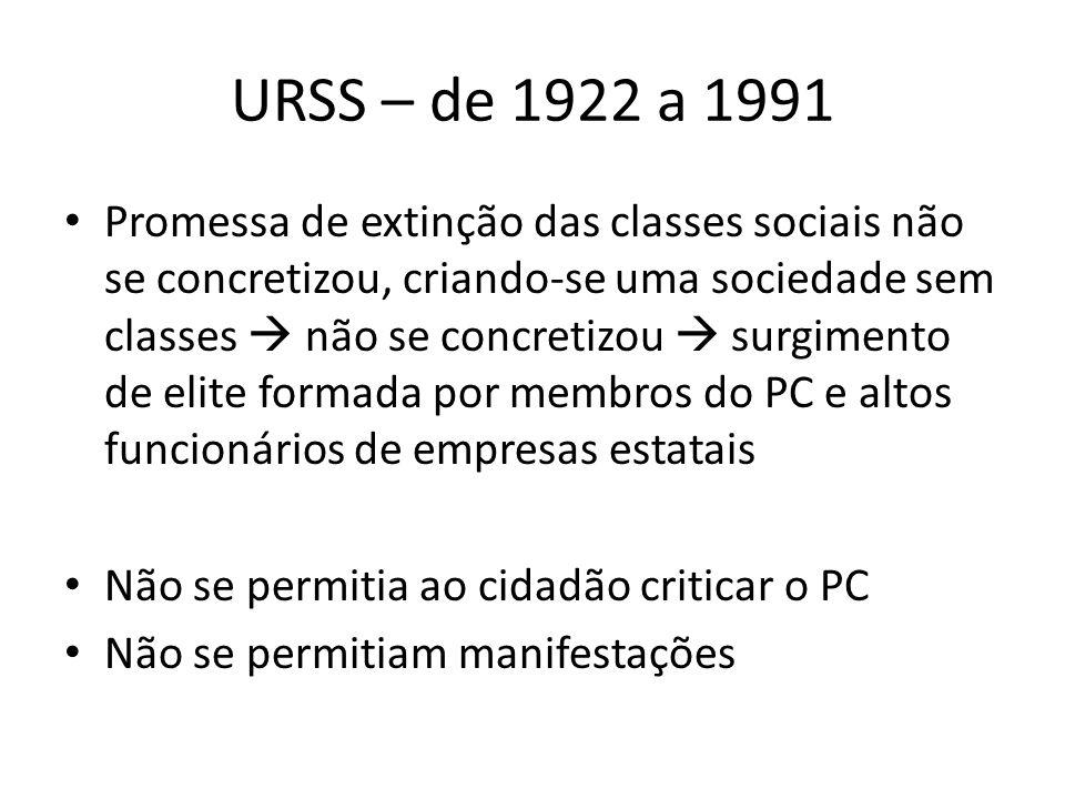 URSS – de 1922 a 1991 Promessa de extinção das classes sociais não se concretizou, criando-se uma sociedade sem classes  não se concretizou  surgimento de elite formada por membros do PC e altos funcionários de empresas estatais Não se permitia ao cidadão criticar o PC Não se permitiam manifestações