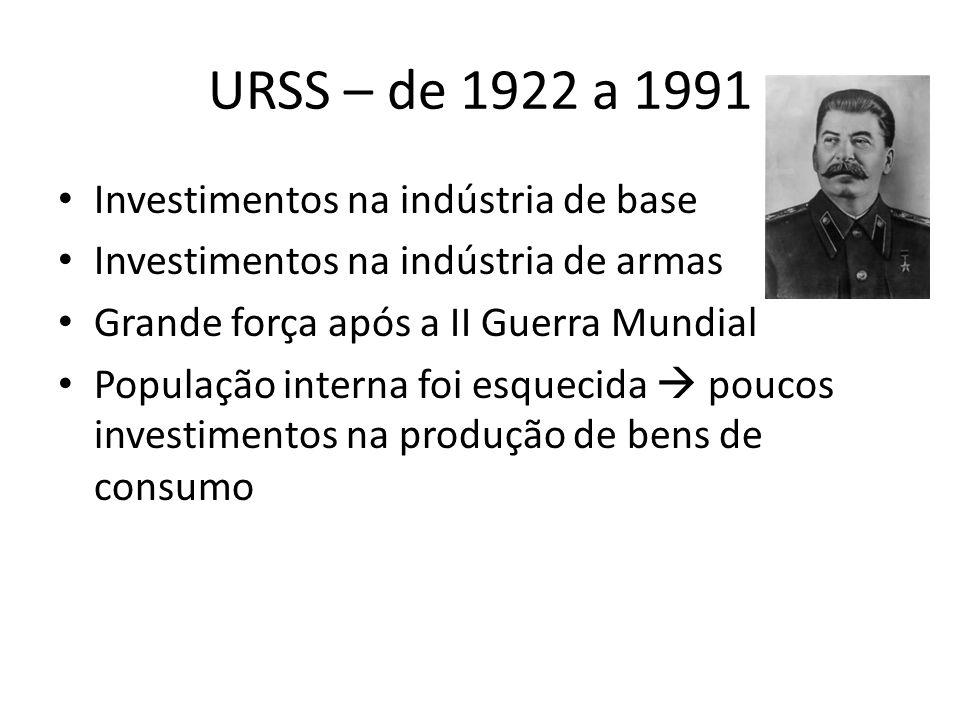 URSS – de 1922 a 1991 Investimentos na indústria de base Investimentos na indústria de armas Grande força após a II Guerra Mundial População interna foi esquecida  poucos investimentos na produção de bens de consumo