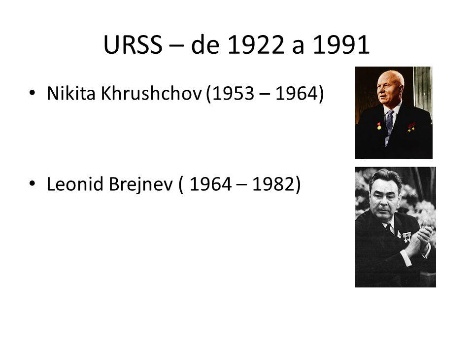 URSS – de 1922 a 1991 Nikita Khrushchov (1953 – 1964) Leonid Brejnev ( 1964 – 1982)