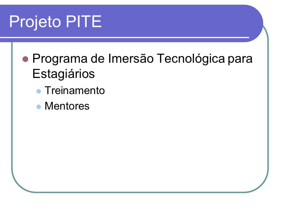 Projeto PITE Programa de Imersão Tecnológica para Estagiários Treinamento Mentores