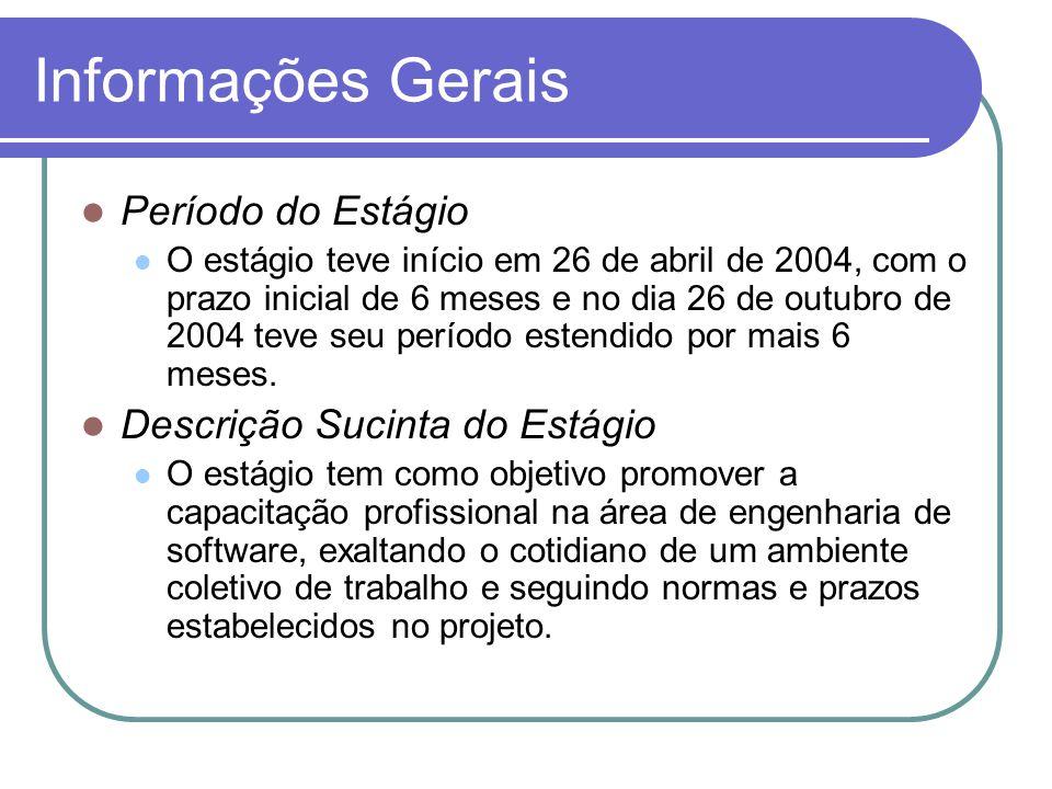 Informações Gerais Período do Estágio O estágio teve início em 26 de abril de 2004, com o prazo inicial de 6 meses e no dia 26 de outubro de 2004 teve
