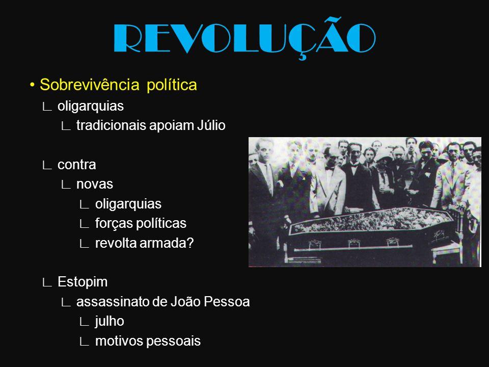 Sobrevivência política ∟ oligarquias ∟ tradicionais apoiam Júlio ∟ contra ∟ novas ∟ oligarquias ∟ forças políticas ∟ revolta armada? ∟ Estopim ∟ assas