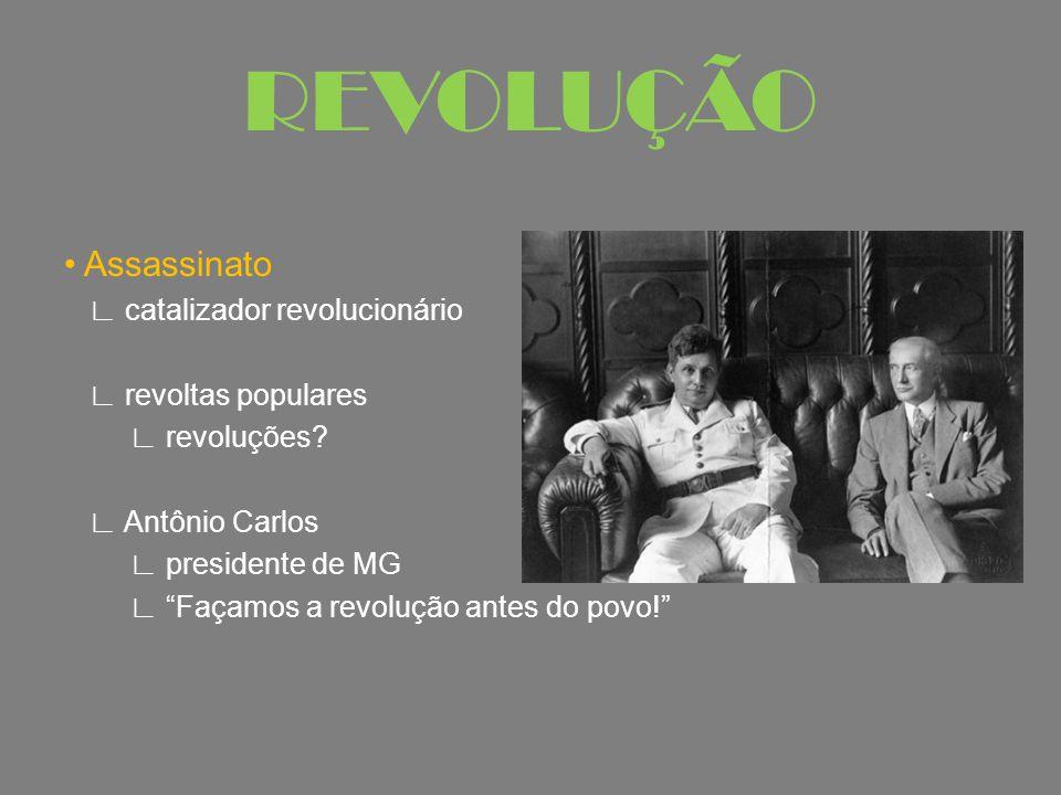 """Assassinato ∟ catalizador revolucionário ∟ revoltas populares ∟ revoluções? ∟ Antônio Carlos ∟ presidente de MG ∟ """"Façamos a revolução antes do povo!"""""""
