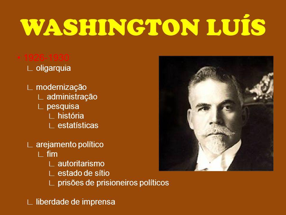 WASHINGTON LUÍS 1926-1930 ∟ oligarquia ∟ modernização ∟ administração ∟ pesquisa ∟ história ∟ estatísticas ∟ arejamento político ∟ fim ∟ autoritarismo
