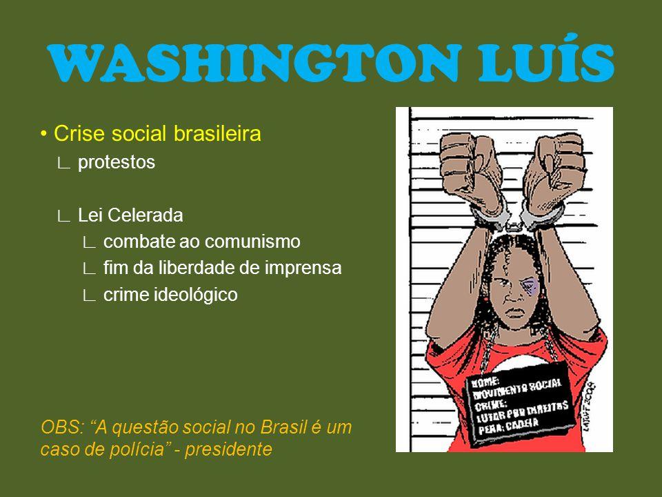 Oposição ∟ oligarquia gaúcha ∟ Getúlio Vargas ∟ nova proposta política ∟ apoio também da burguesia ∟ classe média ∟ intelectuais ∟ trabalhadores ∟ sindicatos WASHINGTON LUÍS