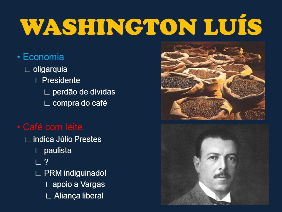 Aliança liberal ∟ Vargas ∟ João Pessoa (Vice) ∟ paraibano (X coronéis) X Júlio Prestes ∟ Fraudes das partes ∟ Vitória em março/1930 ∟ Júlio Prestes WASHINGTON LUÍS
