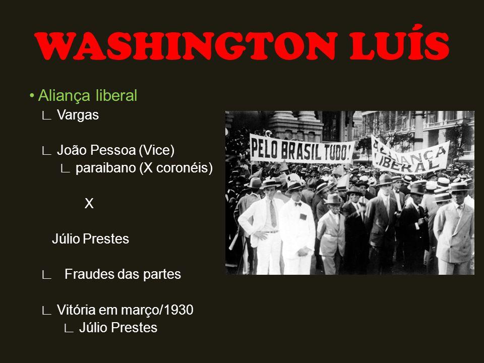 Aliança liberal ∟ Vargas ∟ João Pessoa (Vice) ∟ paraibano (X coronéis) X Júlio Prestes ∟ Fraudes das partes ∟ Vitória em março/1930 ∟ Júlio Prestes WA