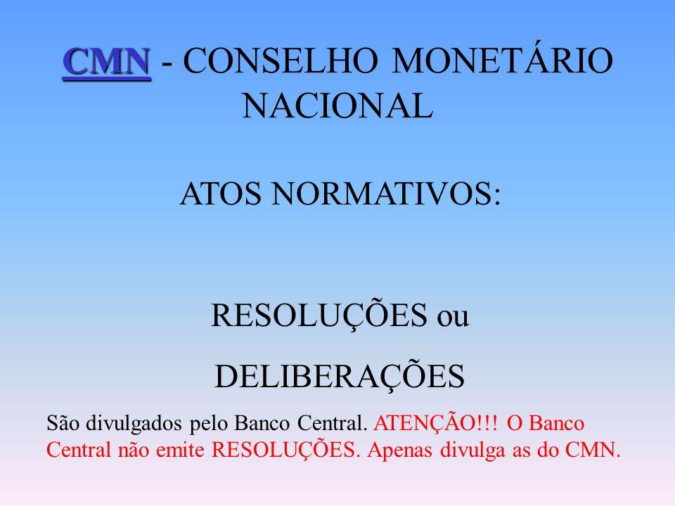 Funções: Estabelecer as diretrizes gerais das políticas monetária, cambial e creditícia; Regular as condições de constituição, funcionamento e fiscali