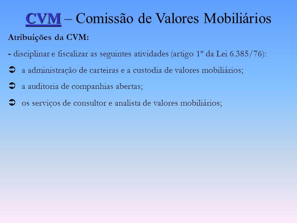 CVM CVM – Comissão de Valores Mobiliários Ambiente Normativo: -Lei 6.385/76, que disciplina o Mercado de Capitais e Cria a CVM; - Lei 6.404/76, que di