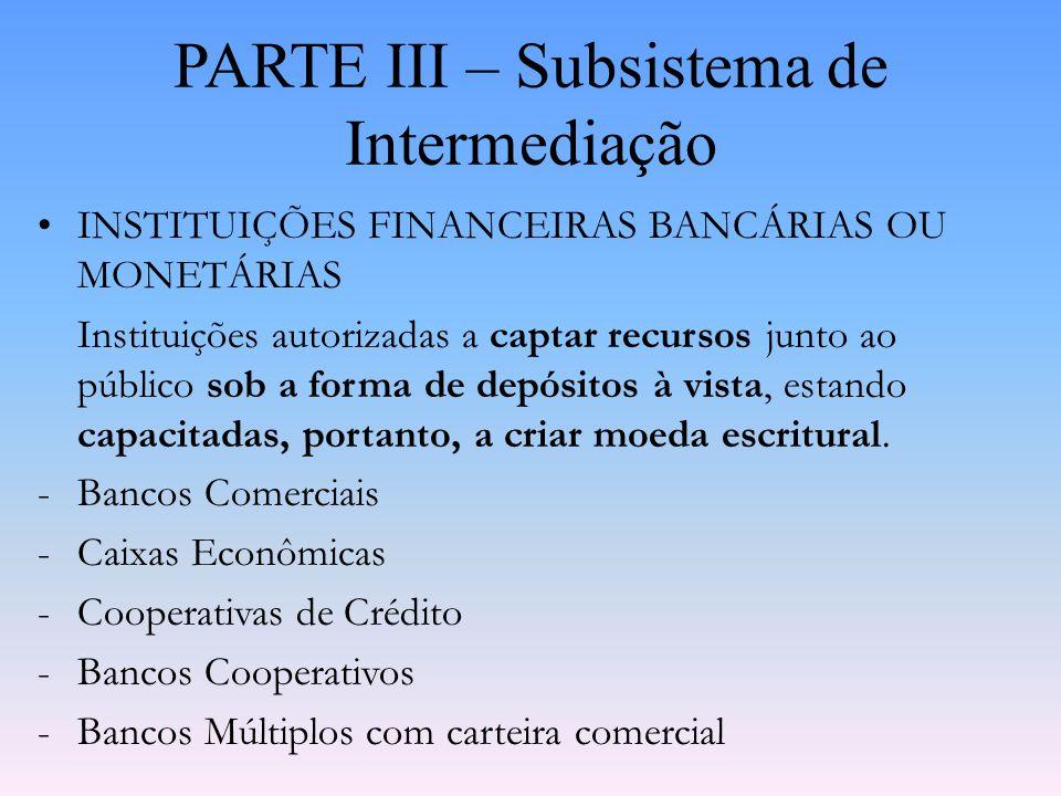 PARTE III – Subsistema de Intermediação -Inspiração do Primeiro Modelo Brasileiro: -Glass-Steagall Act – 1933: Separou os bancos em comerciais e de in