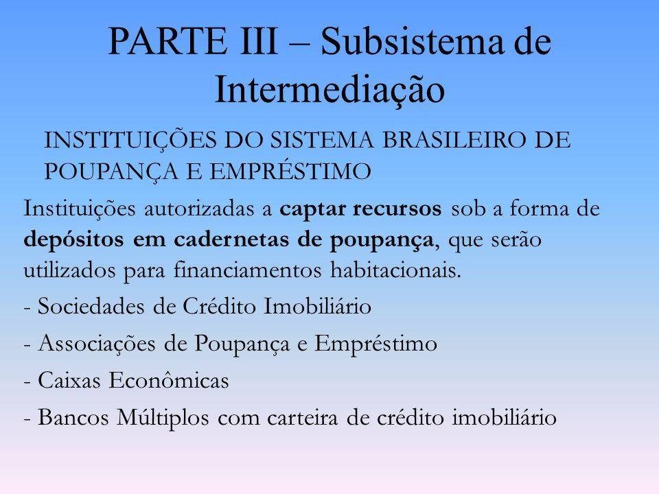 PARTE III – Subsistema de Intermediação INSTITUIÇÕES FINANCEIRAS NÃO BANCÁRIAS OU NÃO MONETÁRIAS Instituições que não estão autorizadas a captar recur