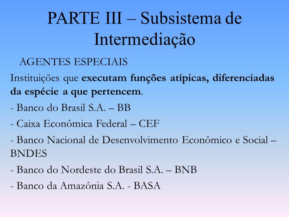 PARTE III – Subsistema de Intermediação INSTITUIÇÕES DO SISTEMA BRASILEIRO DE POUPANÇA E EMPRÉSTIMO Instituições autorizadas a captar recursos sob a f