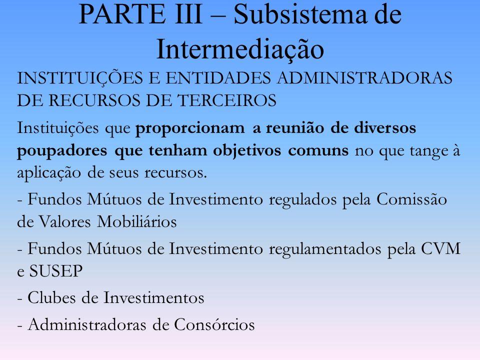 PARTE III – Subsistema de Intermediação INSTITUIÇÕES DO SISTEMA DE LIQUIDAÇÃO E CUSTÓDIA DE TÍTULOS E VALORES MOBILIÁRIOS Instituições que prestam ser