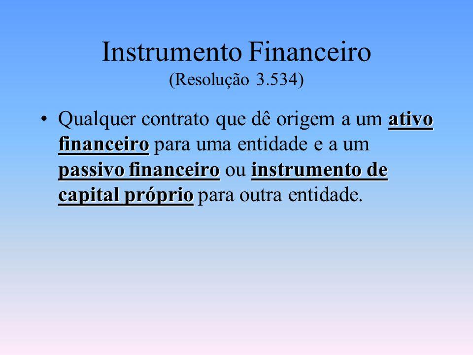 Instrumento Financeiro (Resolução 3.534) ativo financeiro passivo financeiroinstrumento de capital próprioQualquer contrato que dê origem a um ativo financeiro para uma entidade e a um passivo financeiro ou instrumento de capital próprio para outra entidade.