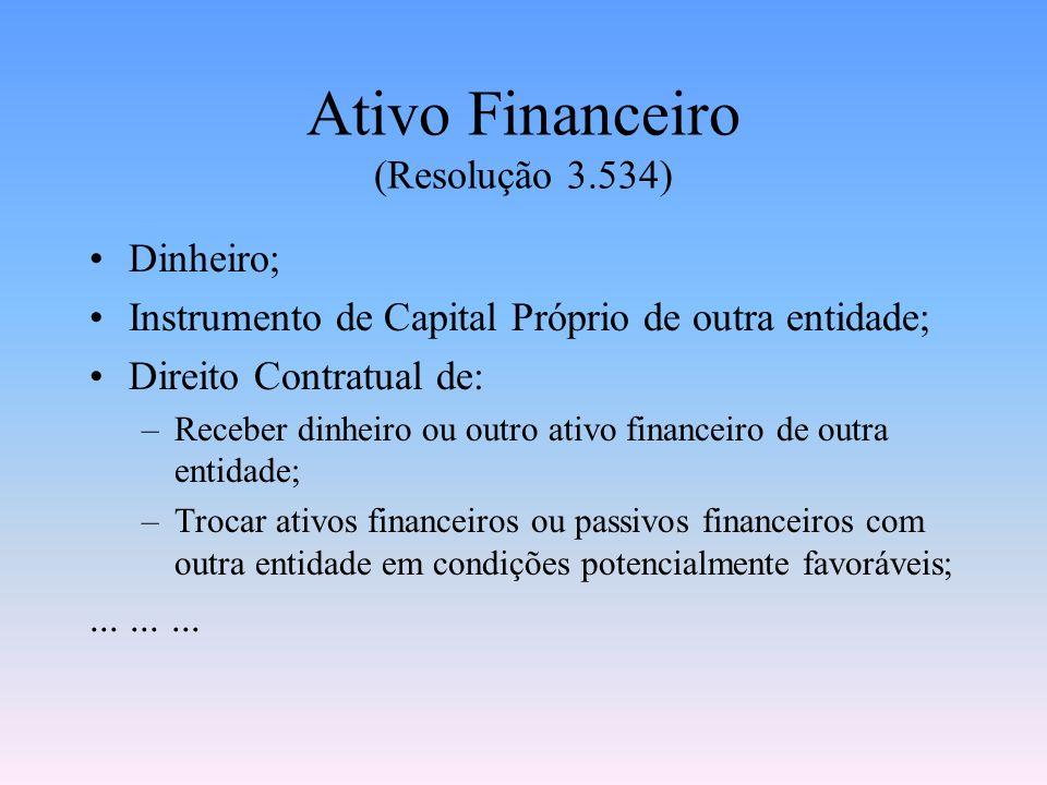 Instrumento Financeiro (Resolução 3.534) ativo financeiro passivo financeiroinstrumento de capital próprioQualquer contrato que dê origem a um ativo f