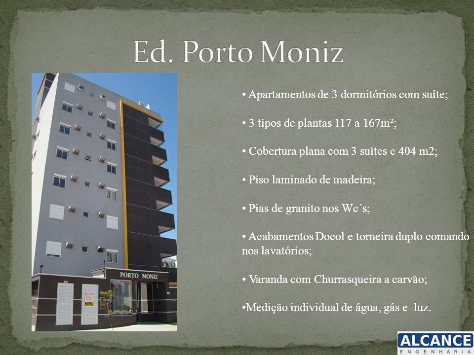 Apartamentos de 3 dormitórios com suíte; 3 tipos de plantas 117 a 167m²; Cobertura plana com 3 suítes e 404 m2; Piso laminado de madeira; Pias de gran