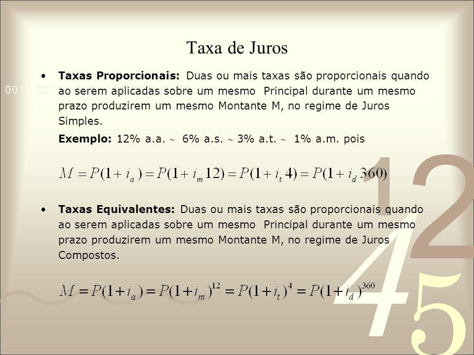Taxa de Juros Taxas Proporcionais: Duas ou mais taxas são proporcionais quando ao serem aplicadas sobre um mesmo Principal durante um mesmo prazo prod