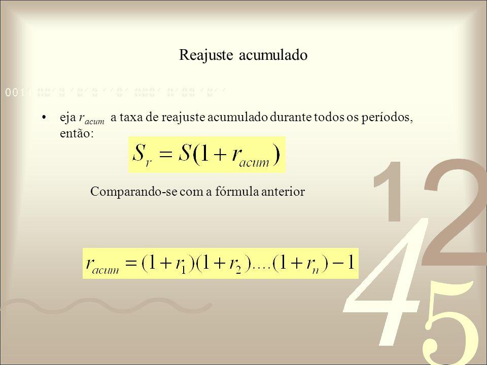 Reajuste acumulado eja r acum a taxa de reajuste acumulado durante todos os períodos, então: Comparando-se com a fórmula anterior