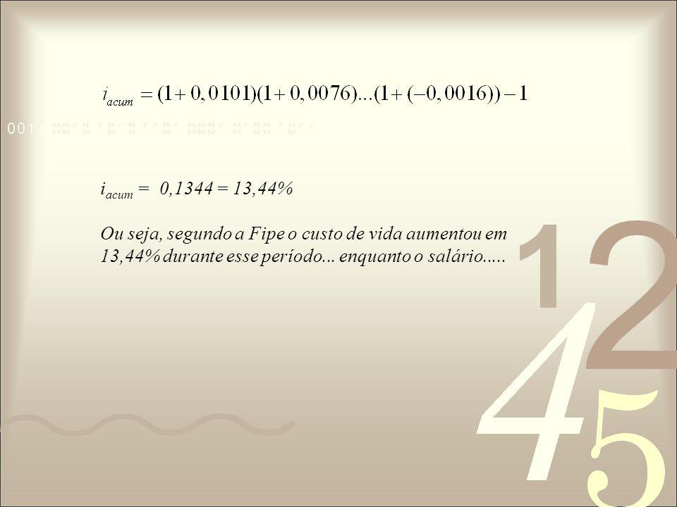 i acum = 0,1344 = 13,44% Ou seja, segundo a Fipe o custo de vida aumentou em 13,44% durante esse período...