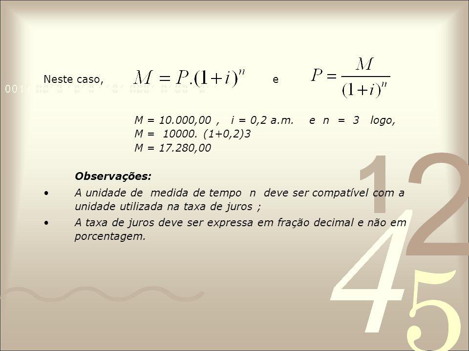 Neste caso, e M = 10.000,00, i = 0,2 a.m. e n = 3 logo, M = 10000. (1+0,2)3 M = 17.280,00 Observações: A unidade de medida de tempo n deve ser compatí
