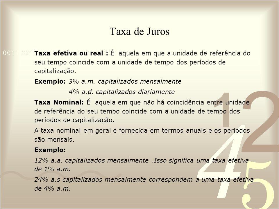 Taxa de Juros Taxa efetiva ou real : É aquela em que a unidade de referência do seu tempo coincide com a unidade de tempo dos períodos de capitalização.