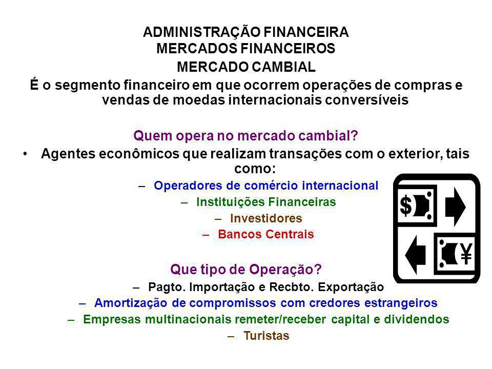 ADMINISTRAÇÃO FINANCEIRA MERCADOS FINANCEIROS MERCADO CAMBIAL É o segmento financeiro em que ocorrem operações de compras e vendas de moedas internaci