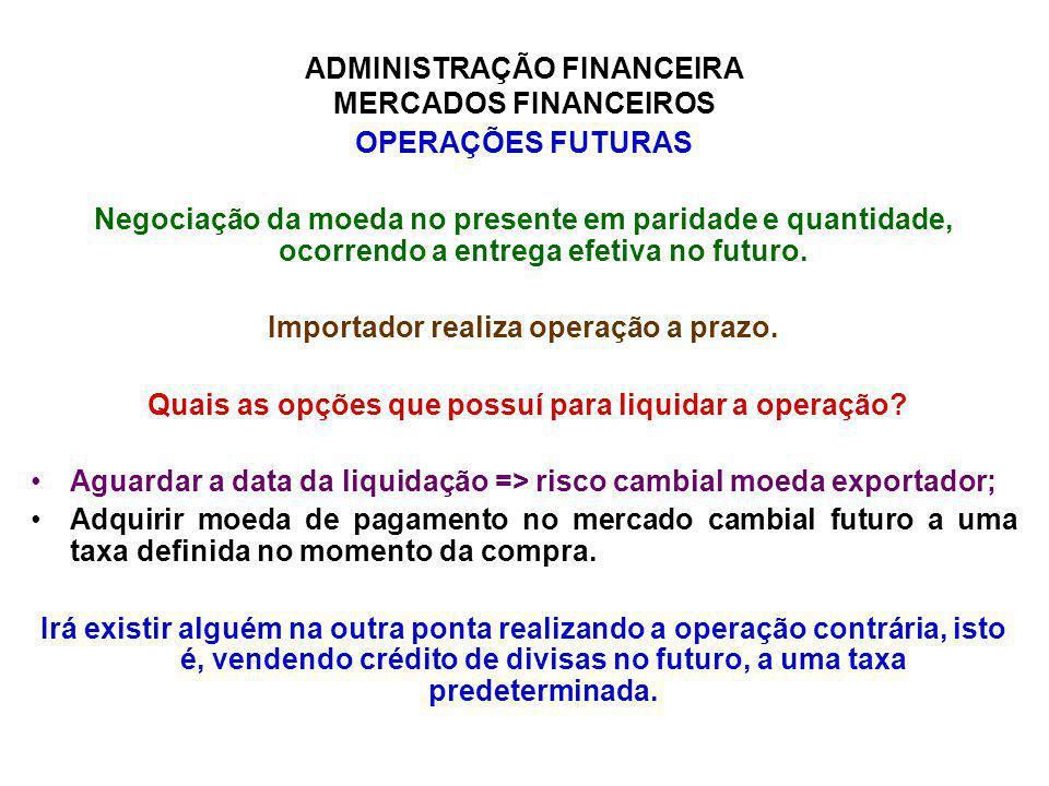 ADMINISTRAÇÃO FINANCEIRA MERCADOS FINANCEIROS OPERAÇÕES FUTURAS Negociação da moeda no presente em paridade e quantidade, ocorrendo a entrega efetiva