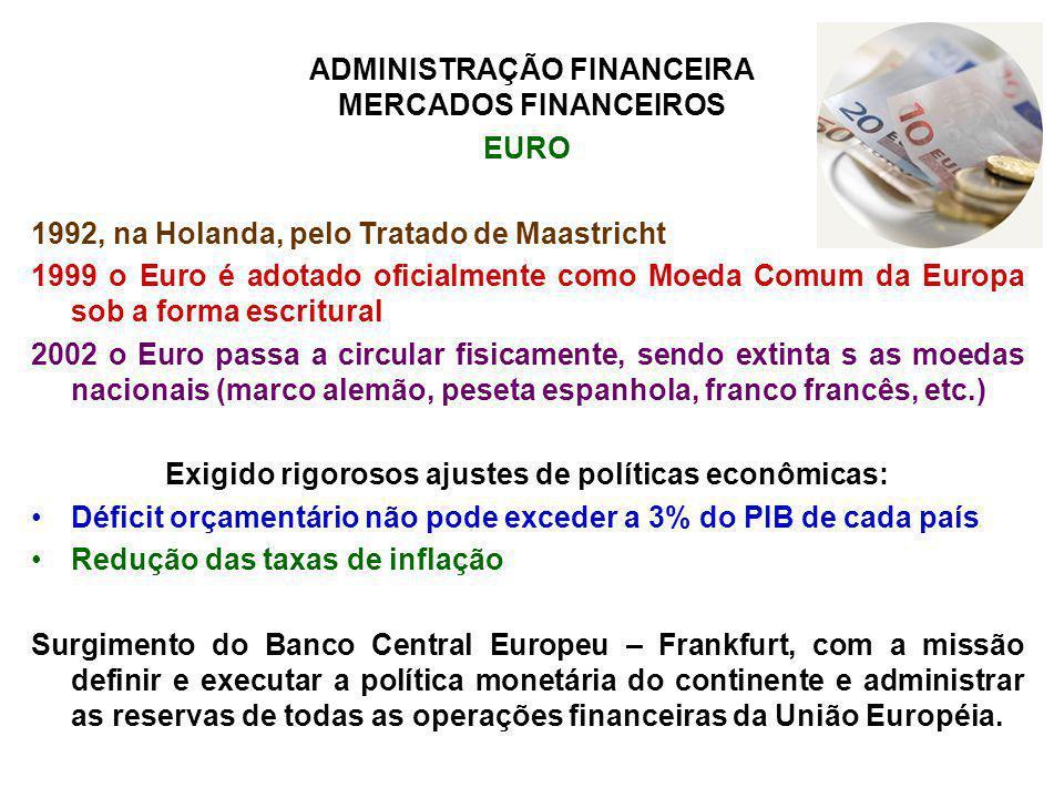 ADMINISTRAÇÃO FINANCEIRA MERCADOS FINANCEIROS EURO 1992, na Holanda, pelo Tratado de Maastricht 1999 o Euro é adotado oficialmente como Moeda Comum da