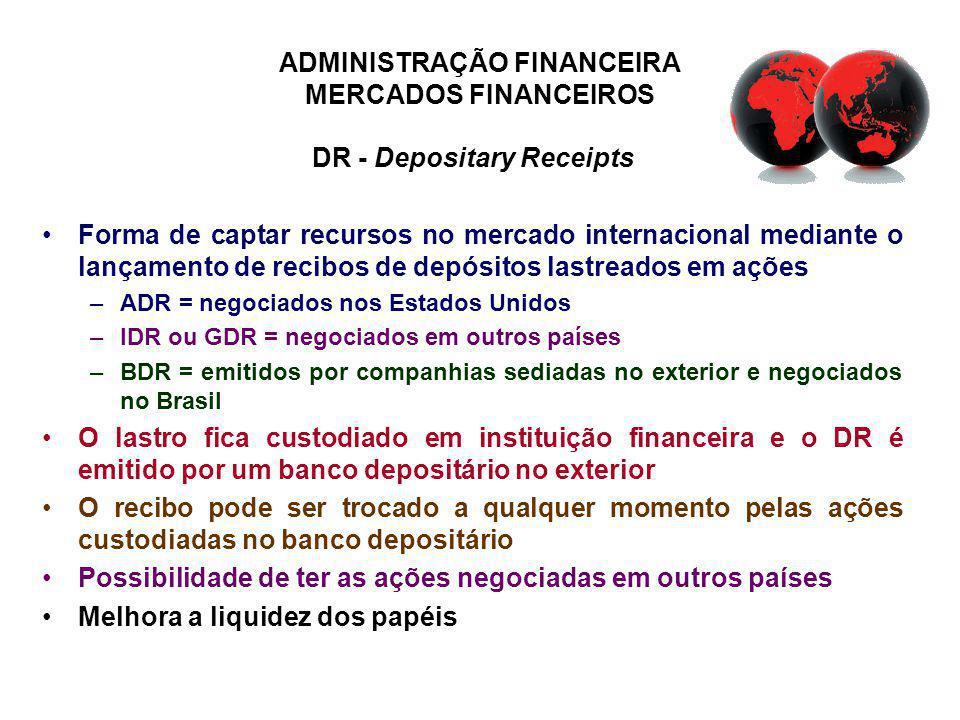 ADMINISTRAÇÃO FINANCEIRA MERCADOS FINANCEIROS DR - Depositary Receipts Forma de captar recursos no mercado internacional mediante o lançamento de reci