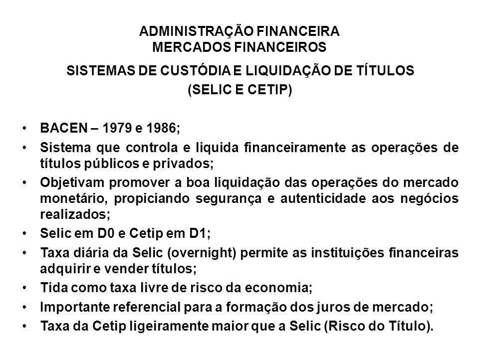 ADMINISTRAÇÃO FINANCEIRA MERCADOS FINANCEIROS SISTEMAS DE CUSTÓDIA E LIQUIDAÇÃO DE TÍTULOS (SELIC E CETIP) BACEN – 1979 e 1986; Sistema que controla e