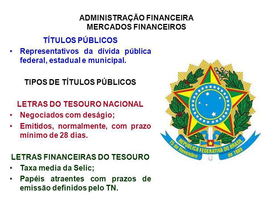 ADMINISTRAÇÃO FINANCEIRA MERCADOS FINANCEIROS TÍTULOS PÚBLICOS Representativos da dívida pública federal, estadual e municipal. TIPOS DE TÍTULOS PÚBLI