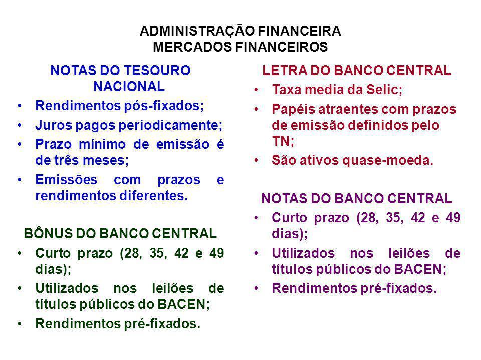 ADMINISTRAÇÃO FINANCEIRA MERCADOS FINANCEIROS NOTAS DO TESOURO NACIONAL Rendimentos pós-fixados; Juros pagos periodicamente; Prazo mínimo de emissão é
