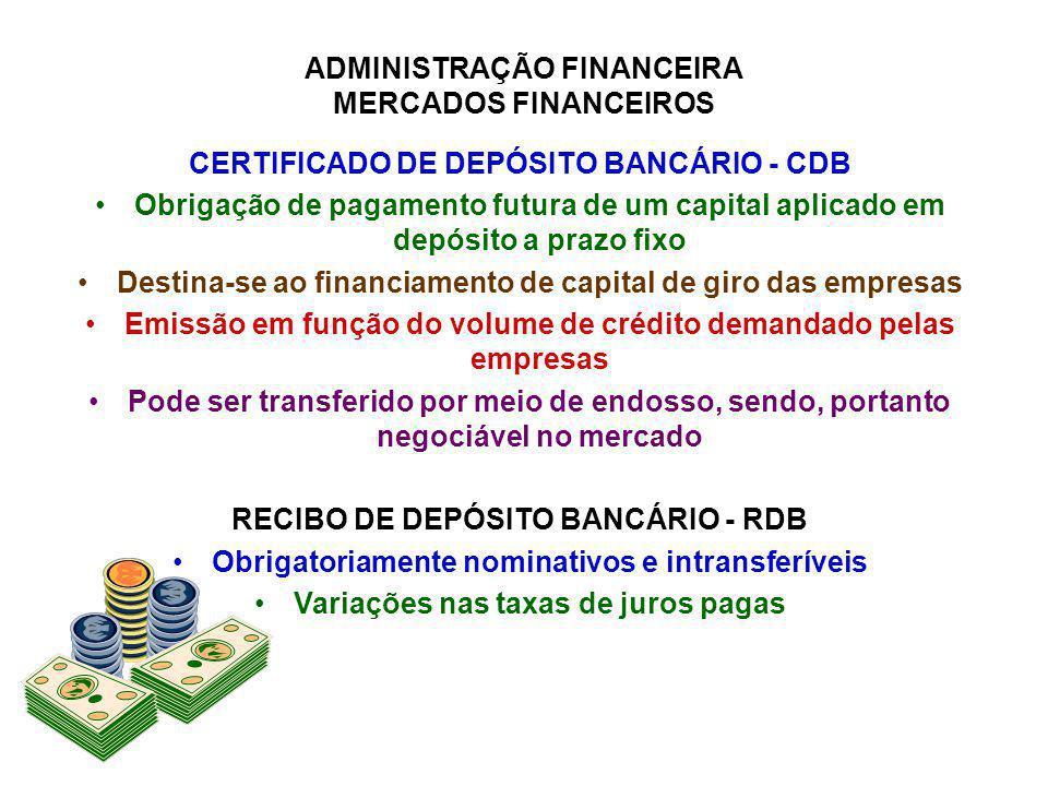 ADMINISTRAÇÃO FINANCEIRA MERCADOS FINANCEIROS CERTIFICADO DE DEPÓSITO BANCÁRIO - CDB Obrigação de pagamento futura de um capital aplicado em depósito