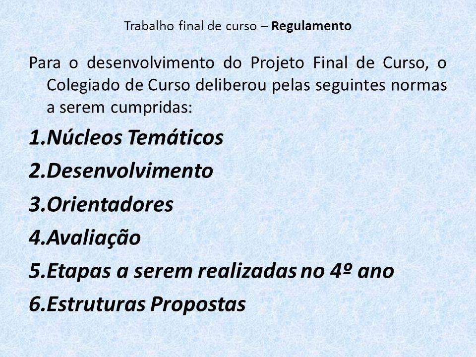 Para o desenvolvimento do Projeto Final de Curso, o Colegiado de Curso deliberou pelas seguintes normas a serem cumpridas: 1.Núcleos Temáticos 2.Desen