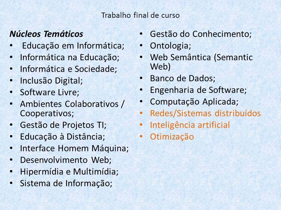 Núcleos Temáticos Educação em Informática; Informática na Educação; Informática e Sociedade; Inclusão Digital; Software Livre; Ambientes Colaborativos
