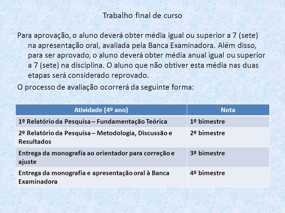 Para aprovação, o aluno deverá obter média igual ou superior a 7 (sete) na apresentação oral, avaliada pela Banca Examinadora. Além disso, para ser ap