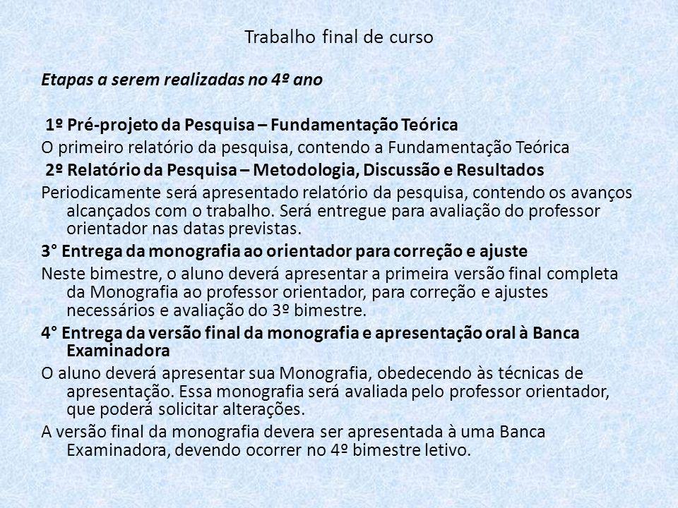 A Banca Examinadora deverá receber a versão final da Monografia pelo menos 15 (quinze) dias antes da data da apresentação final.