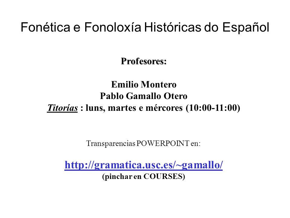 Fonética e Fonoloxía Históricas do Español Profesores: Emilio Montero Pablo Gamallo Otero Titorías : luns, martes e mércores (10:00-11:00) Transparenc