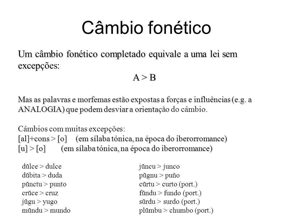 Câmbio fonético Um câmbio fonético completado equivale a uma lei sem excep Um câmbio fonético completado equivale a uma lei sem excepções: A > B Mas a