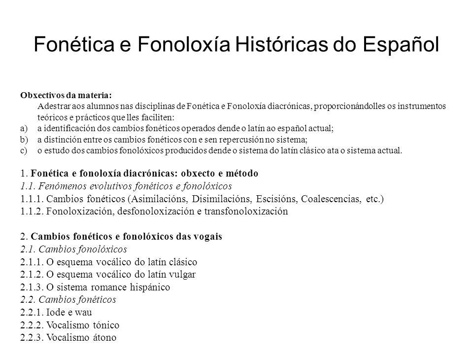 Fonética e Fonoloxía Históricas do Español Obxectivos da materia: Adestrar aos alumnos nas disciplinas de Fonética e Fonoloxía diacrónicas, proporcion