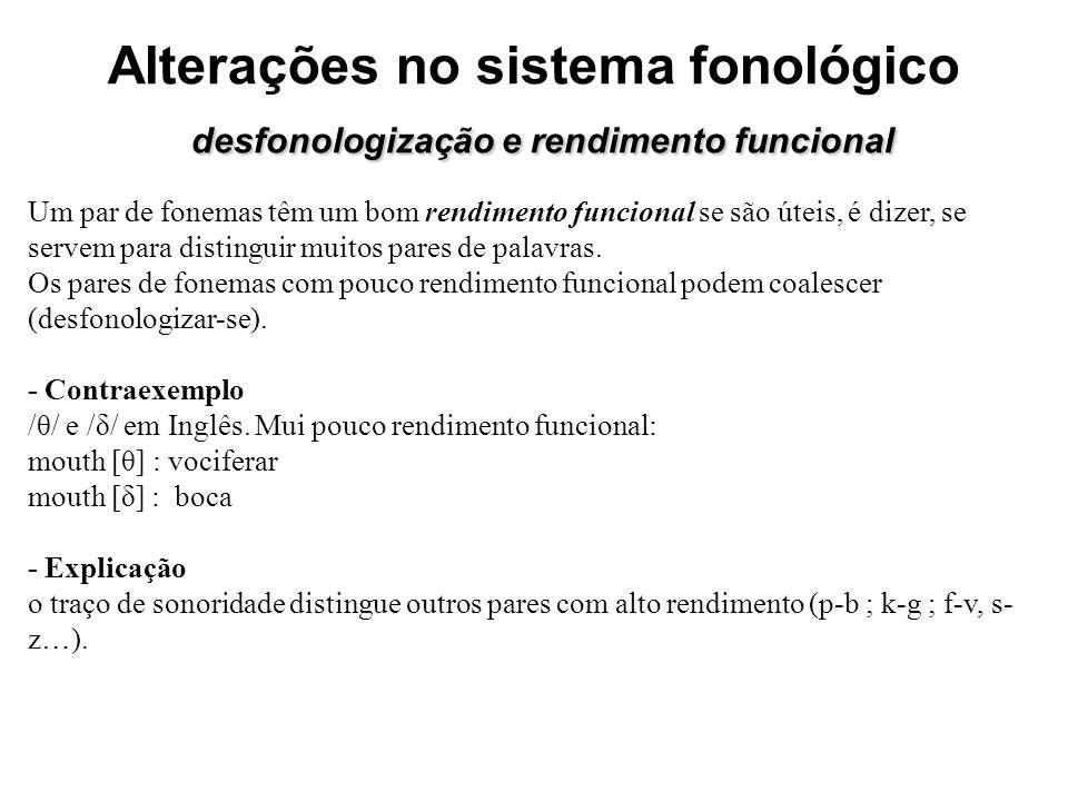 desfonologização e rendimento funcional Alterações no sistema fonológico desfonologização e rendimento funcional Um par de fonemas têm um bom rendimen