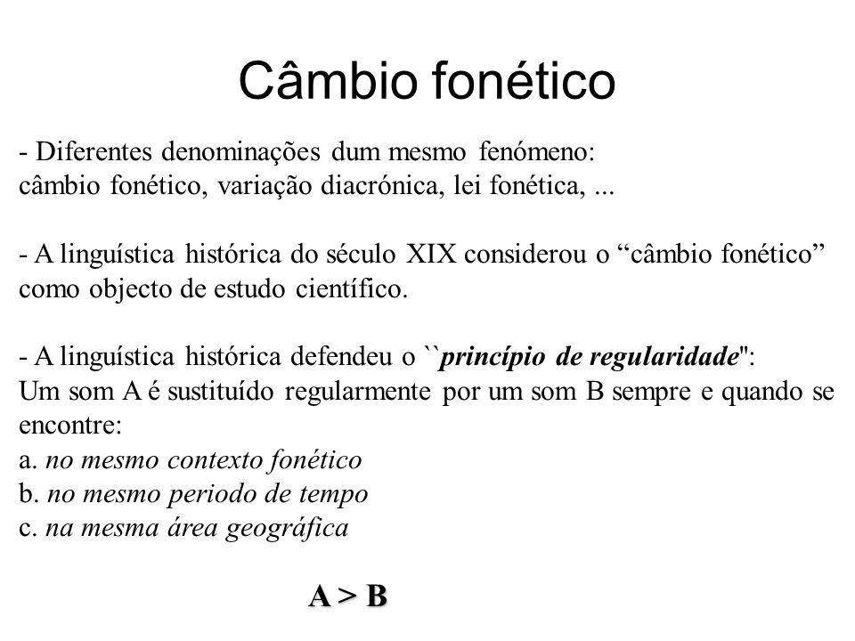 Câmbio fonético - Diferentes denominações dum mesmo fenómeno: câmbio fonético, variação diacrónica, lei fonética,... - A linguística histórica do sécu