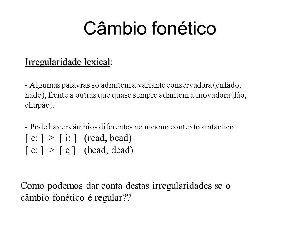 Câmbio fonético Irregularidade lexical Irregularidade lexical: - Algumas palavras só admitem a variante conservadora (enfado, hado), frente a outras q